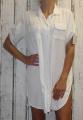 Dámské košilové šaty, dlouhá košile - bílá