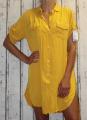 Dámské košilové šaty, dlouhá košile - žlutá