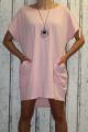 Dámské bavlněné šaty s přívěskem - volné - růžové