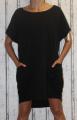 Dámské bavlněné šaty s přívěskem - volné - černé