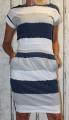 Dámské bavlněné šaty s páskem - pruhy-modro-šedo-bílé