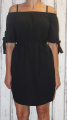 Dámské letní šaty se spadlými rameny a se zavazováním - černé