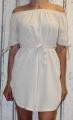 Dámské letní šaty se spadlými rameny a se zavazováním - krémové