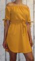 Dámské letní šaty se spadlými rameny a se zavazováním - žluté-hořčicové