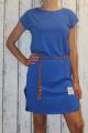 Dámské bavlněné šaty s koženým páskem - modré