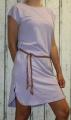 Dámské bavlněné šaty s koženým páskem - fialové