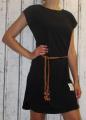 Dámské bavlněné šaty s koženým páskem - černé