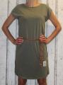Dámské bavlněné šaty s koženým páskem - khaki