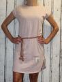 Dámské bavlněné šaty s koženým páskem - starorůžové