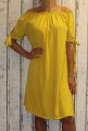 Dámské letní, bavlněné šaty se spadlými rameny - žluté