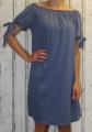 Dámské letní, bavlněné šaty se spadlými rameny - modré