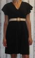 Dámské šaty s širokým páskem - černé