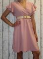 Dámské šaty s širokým páskem - staro-růžové