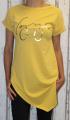 Dámské dlouhé tričko zkosený střih - Voyage - žluté-hořčicové