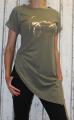 Dámské dlouhé tričko zkosený střih - Voyage - khaki