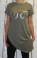 Dámské tričko krátký rukáv dámské dlouhé tričko se zkoseným střihem Italy Moda