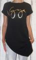 Dámské dlouhé tričko zkosený střih - Voyage - černé