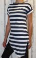 Dámské dlouhé tričko zkosený střih - modro-bílé pruhy 2