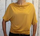 Dámské tričko - spadlá ramena 2 - žluté-hořčicové