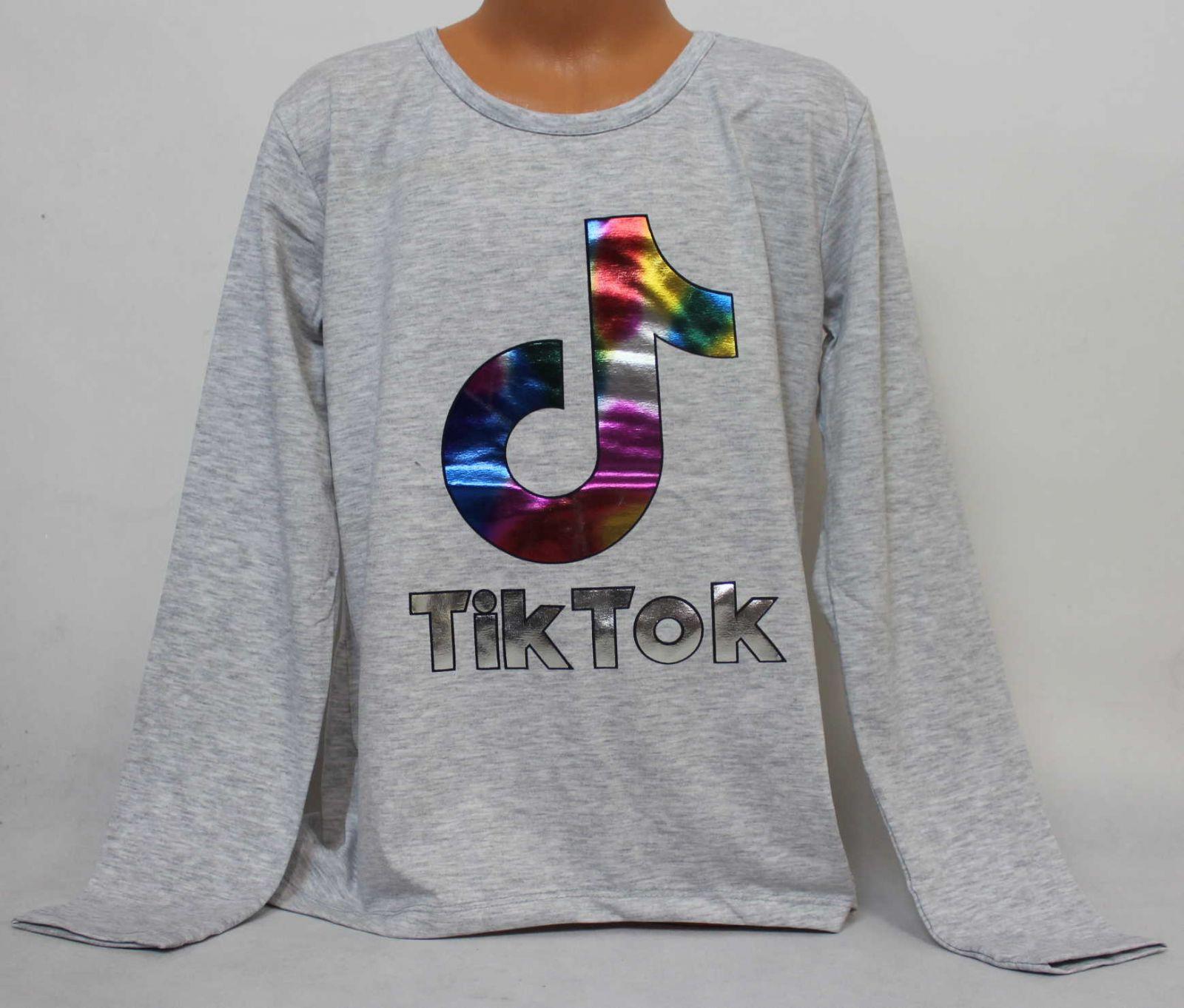 dívčí tričko Tik Tok, triko dlouhý rukáv Tik Tok, bavlněné tričko Tik Tok
