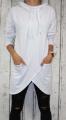 Dámská dlouhá, bavlněná mikina - šikmý střih - bílá