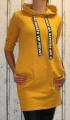 Dámská dlouhá, bavlněná mikina s kapucí - hořčicová