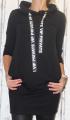 Dámská dlouhá, bavlněná mikina s kapucí - černá