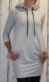 Dámská dlouhá, bavlněná mikina s kapucí - šedá