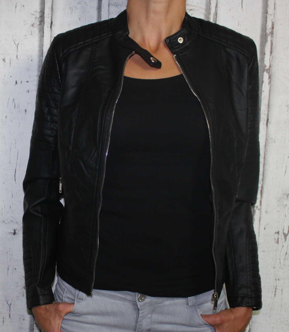 dámská koženková bunda, černá bunda z imitace kůže, dámská bundička, kožená bunda