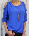 Dámská tunika, halenka s výstřihem na ramenou - modrá