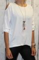 Dámská tunika, halenka s výstřihem na ramenou - bílá