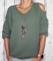 Dámská tunika, dámské tričko volný střih, dámská halenka tričko s výstřihem na ramenou Italy Moda