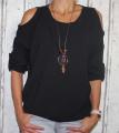 Dámská tunika, halenka s výstřihem na ramenou - černá