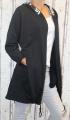 Dámský teplákový bavlněný kardigan - černý