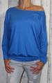 Dámské volné tričko dl.rukáv - spadlá ramena - modré
