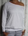 Dámské volné tričko dl.rukáv - spadlá ramena - bílé