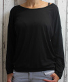 Dámské volné tričko dl.rukáv - spadlá ramena - černé
