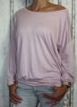 Dámské volné tričko dl.rukáv - spadlá ramena - růžové