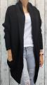 Dámský dlouhý pletený svetr-kardigan-šikmý střih - černý