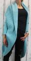 Dámský dlouhý pletený svetr-kardigan-šikmý střih - zelený