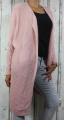 Dámský dlouhý pletený kardigan - růžový