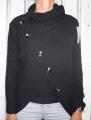 Dámský svetr s límcem a knoflíky - černý