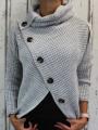 Dámský svetr s límcem, teplý svetr, svetr na knoflíky, svetr zkosený střih