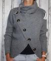 Dámský svetr s límcem a knoflíky - tm.šedý