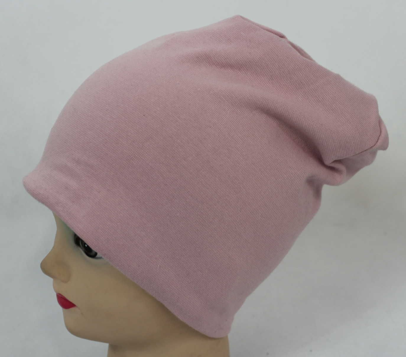 dětská bavlněná čepice, starorůžová čepice, zateplené růžová čepice se spadlým vrškem, dívčí čepice