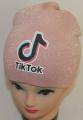 TIK TOK čepice pletená-  prošívaná zlatou nití - staro-růžová