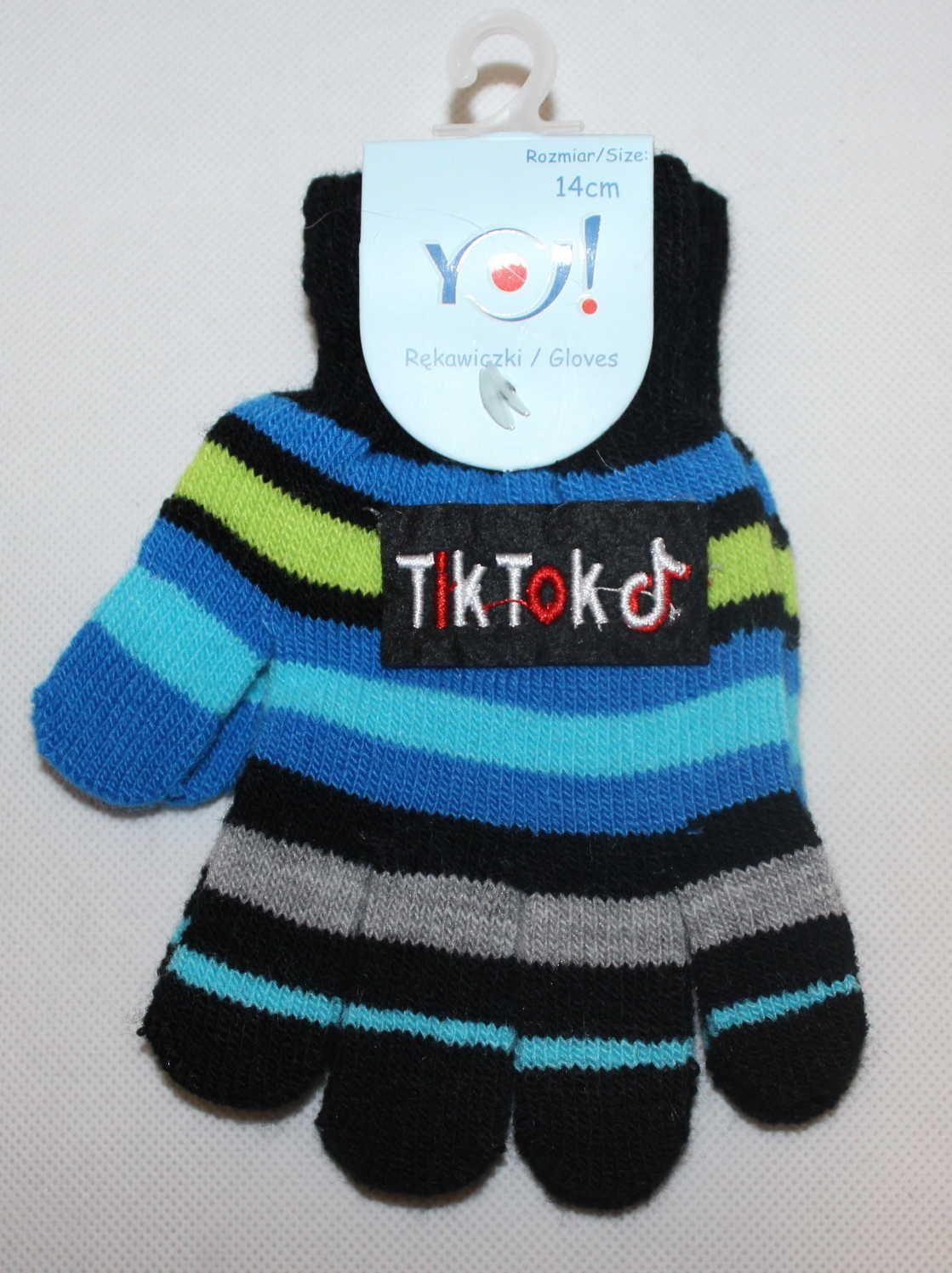 TIK TOK dětské prstové rukavice, TIK TOK úpletové rukavice, chlapecké tik tok rukavice