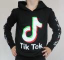 TIK TOK mikina černá s kapucí - vzor 2