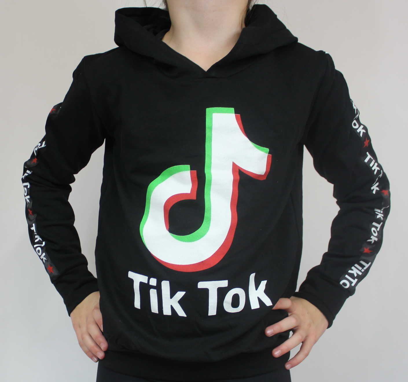 TIK TOK mikina, černá mikina TIK TOK, dětská mikina TIK TOK, dívčí TIK TOK mikina, bavlněná mikina TIK TOK, oblečení TIK TOK, dětské oblečení TIK TOK