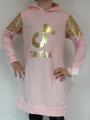 TIK TOK dlouhá mikina/šaty s kapucí - růžová
